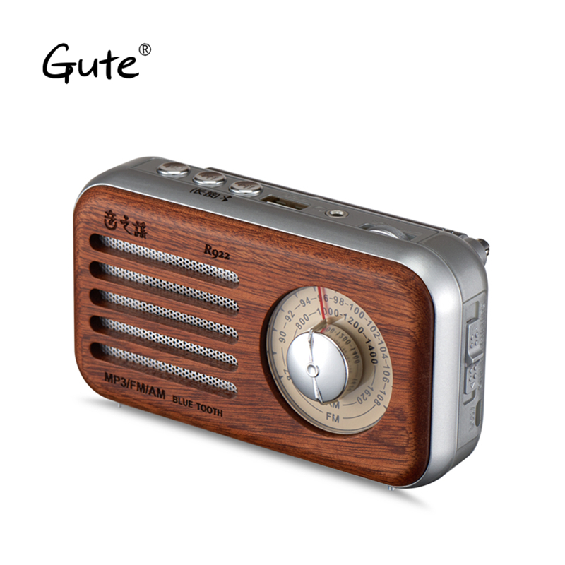 Gute Retro art wooden Mini <font><b>Bluetooth</b></font> Speaker belt am fm radio antenna TF portable receiver dab radio <font><b>radyo</b></font> aged Elderly portatil