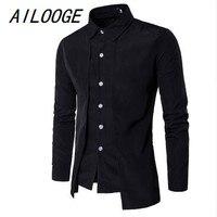 AILOOGE 2018 Mode Mannen Gentleman Britse Lange Mouwen Shirt Avondjurk Tooling Rits Shirt Mannelijke Mannen s Casual Werk Shirts