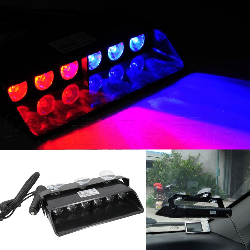 1Set 6W LED Car Windshield Police Strobe Light Beacons Emergency Flashing Warning Lights Signal Truck Lightbar Red Blue Amber s2 shovels ray bead 96w led flashing police strobe intimidator windshield dash light