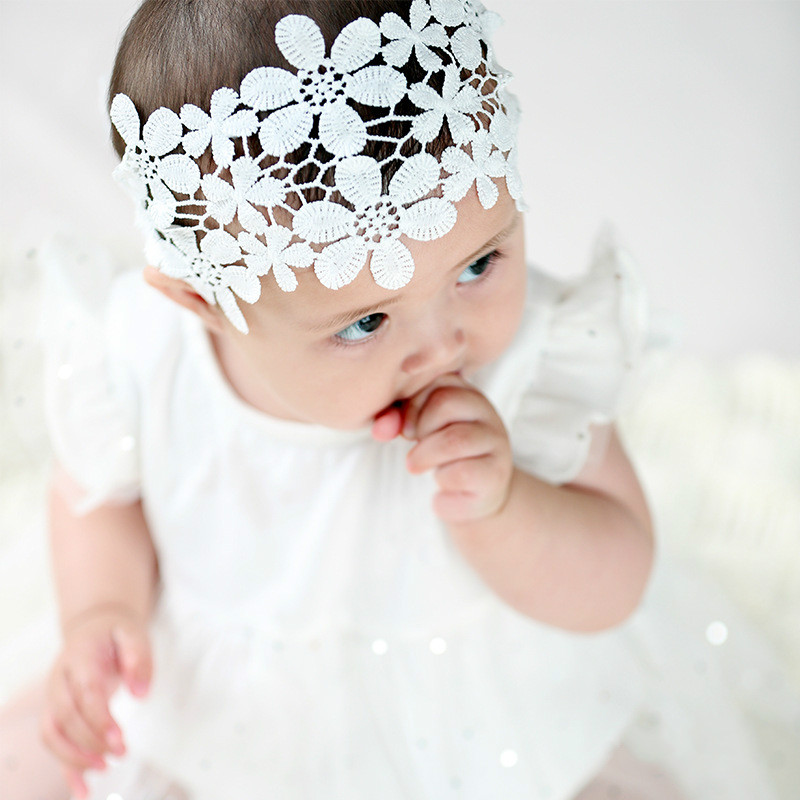 Princess Baby girl white Lace foral headband newborn hair accessories bebes bandeau Baptism Christening head wrap photo pros thule th nb tesd 115dg