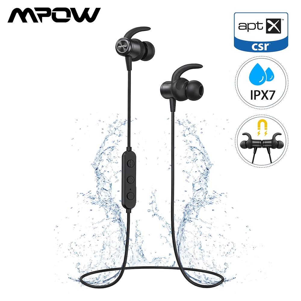 Original Mpow S11 IPX7 À Prova D' Água fone de Ouvido Bluetooth 5.0 Aptx Fones de Ouvido Fones De Ouvido Esportivos Com 9 Horas Playtime Magnético Para O Telefone