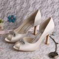 Wedopus Elegant White Ivory Diamond High Heel Wedding Shoes Open toe