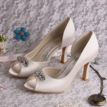 Wedopus Элегантный Белый Кот Алмаз Высокий Каблук Свадебные Туфли с Открытым носком