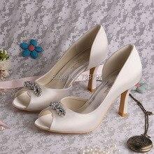 Wedopusสง่างามสีขาวI Voryเพชรแต่งงานส้นสูงรองเท้าเปิดนิ้วเท้า