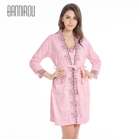 Woman Bathrobe Set Large Plus Full Sexy Cotton Embroidered Jacquard Flower Loose Female Robe Two Piece