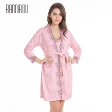 2 Pieces Woman Bathrobe Full Cotton Plus Size Nightgowns Set Embroidered Floral Home Wear Sleep Suit
