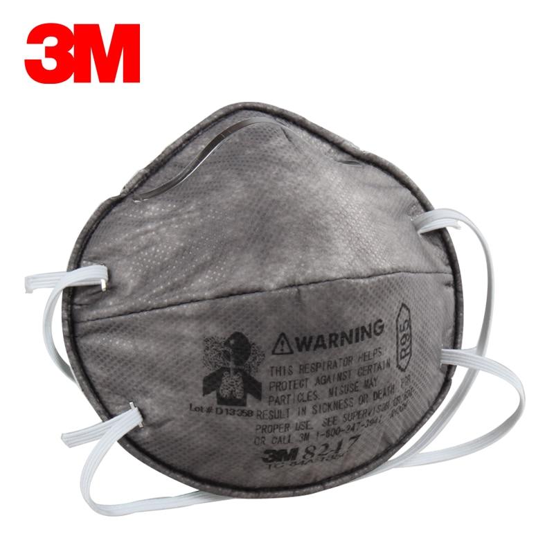 3M 8247 Protective Mask 10pcs Lot Against Formaldehyde PM2 5 Fog Mask R95 Respiratory Disposable Mask