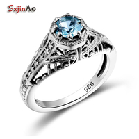 Szjinao All For Wedding Rose Rings For Women Aquamarine Vintage 925 Sterling Silver Jewelry USA Blue Stone Rings Slytherin