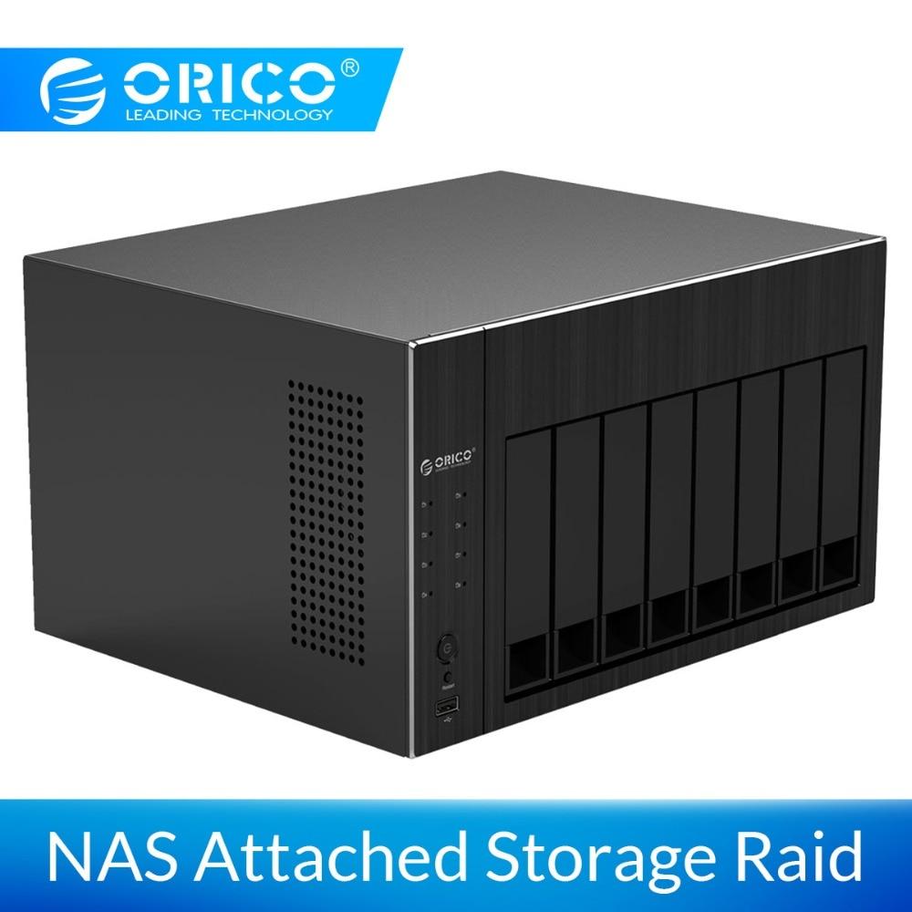 """Boîtier de disque dur ORICO NAS 2.5 """"3.5"""" stockage réseau 8 baies avec RAID Gen7 SATA vers USB 2.0 3.0 boîtier HDMI RJ45 HDD"""