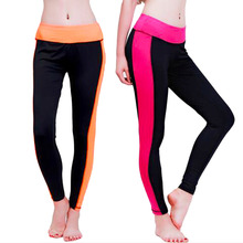 HW2016 NEW arrival  Patchwork Color Quick Drying Slim Fitness Elastic Stretch Sports 7 Leggings