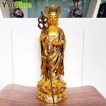 Bronze brass stickers gold stand like Xuanzang sculpture Chinese bronze antique collectibles