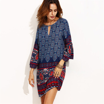 8372a87db54 Weljuber 2018 Women Bohemia Dress Summer Loose Beach Dresses O-Neck ...