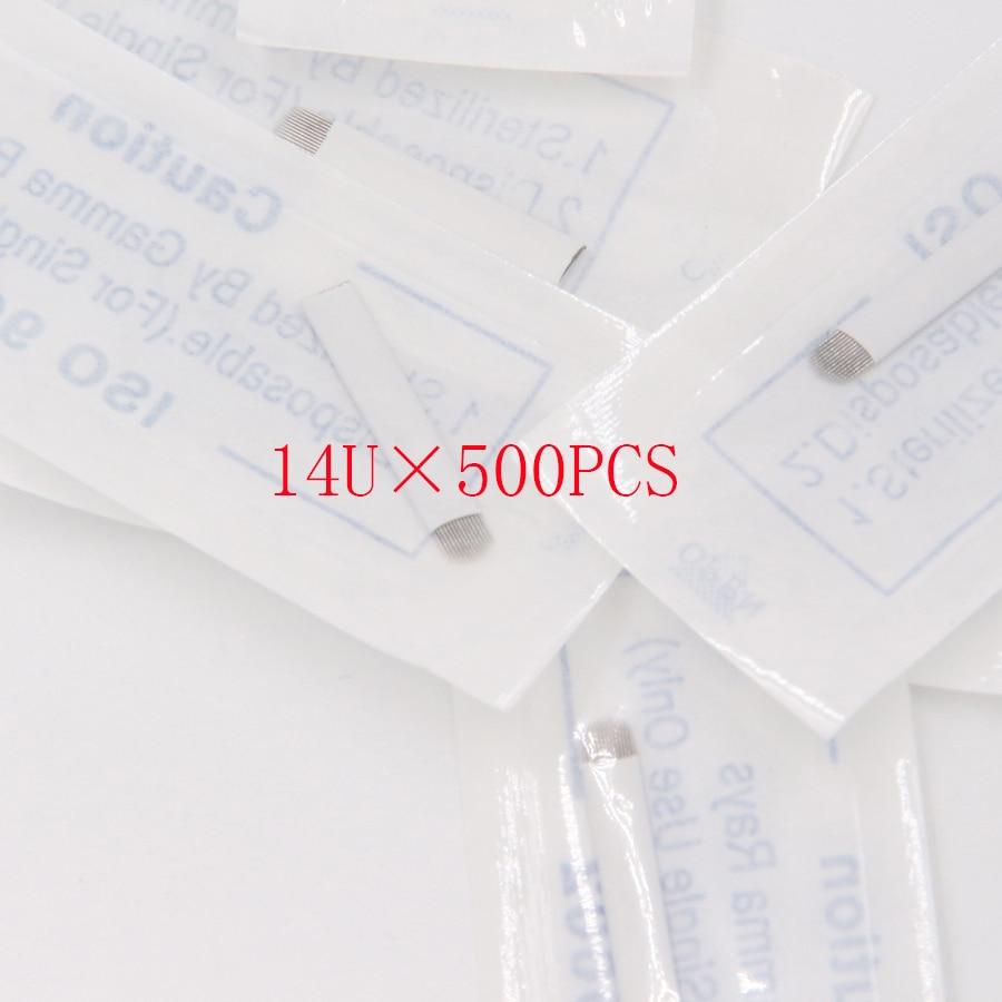 China por mayor 500 unids maquillaje permanente Agulhas microblading 14 U hoja hojas maquillaje permanente agujas del tatuaje del envío libre-in Agujas de tatuaje from Belleza y salud    1