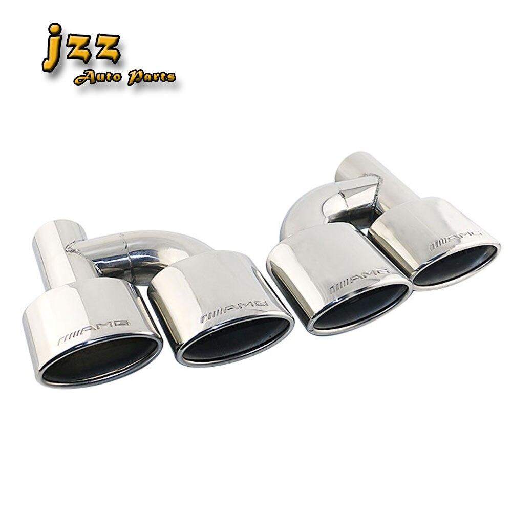 JZZ 1 set gravé amg embout d'échappement de bout en bout de silencieux pour voiture silencieux 63mm inlet chrome argent tuyau tube buse bombe sonore