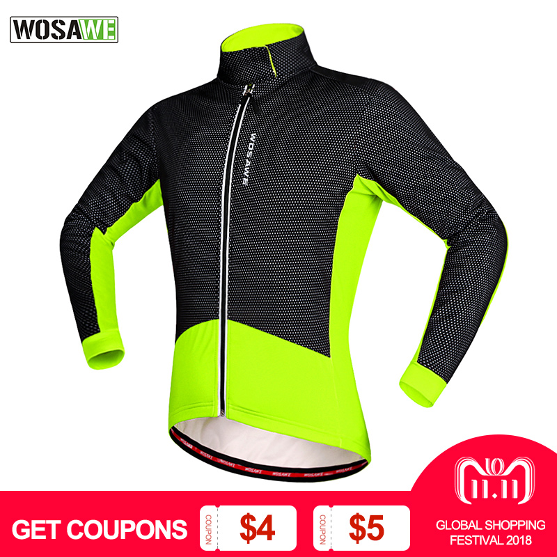 WOSAWE Winter Cycling Jackets Thermal Fleece Windproof Long Sleeve Cycling Jersey Clothing Wear Reflective Clothes wosawe 2017 winter men women thermal cycling base layer compression mountain bike warmer underwear long sleeve cycling jersey page 1