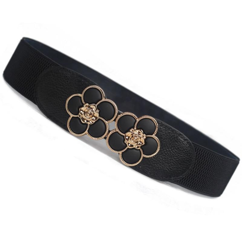 Women Fashion Vintage Elastic Girdle Women's Girdle Wide Belts Flower Wide Belt For Dress Decoration 3010