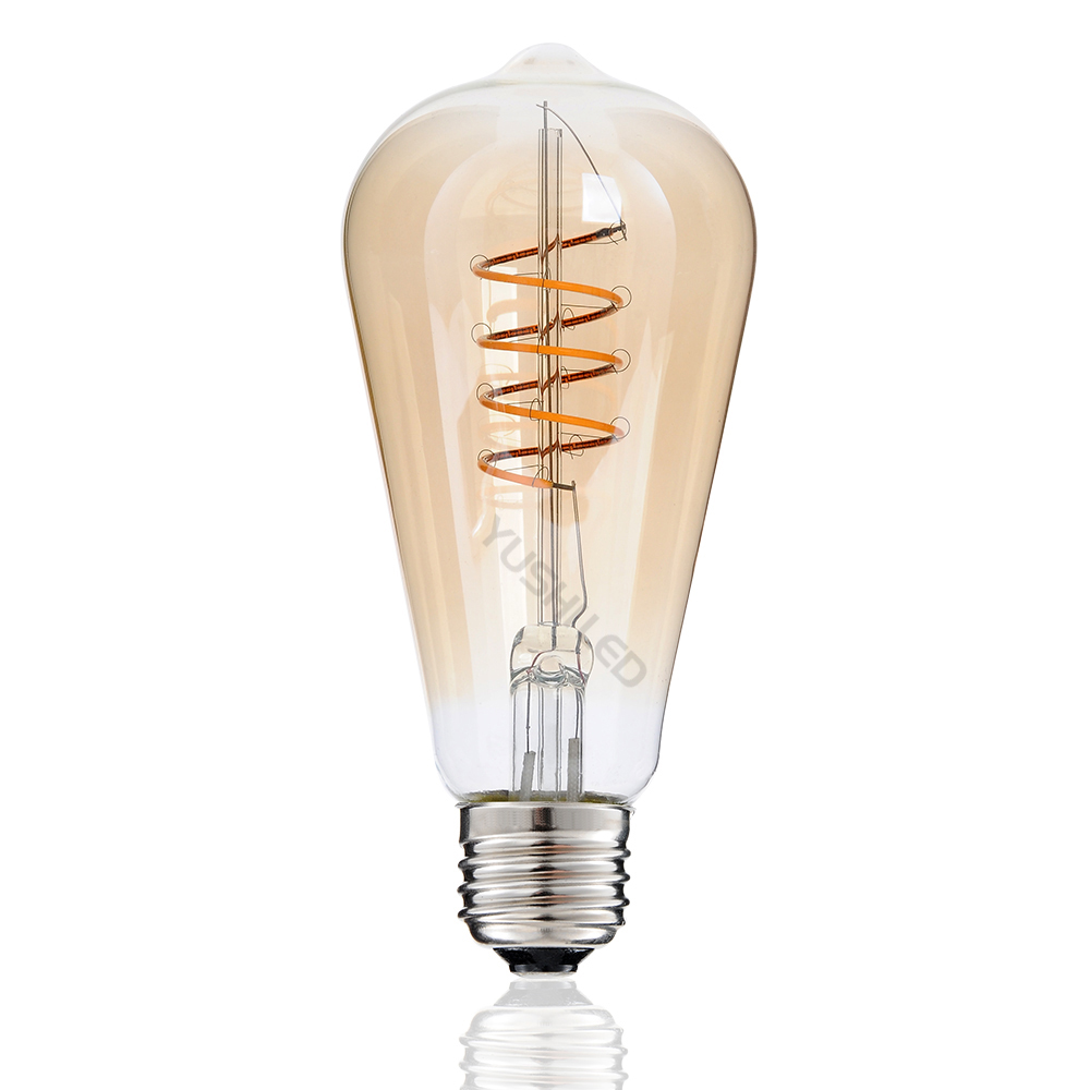3PACK Dimmable AC 110V 220V ST64 Vintage Edison E27 LED Bulb Warm 2200K Amber Tinted Glass 4W Replacement 40W Incandescent Bulb dimmable vintage flexible gild glass led filament bulb straw hat spiral lamp 2200k 4w led bulb 40w equivalent edison bulbs lamps