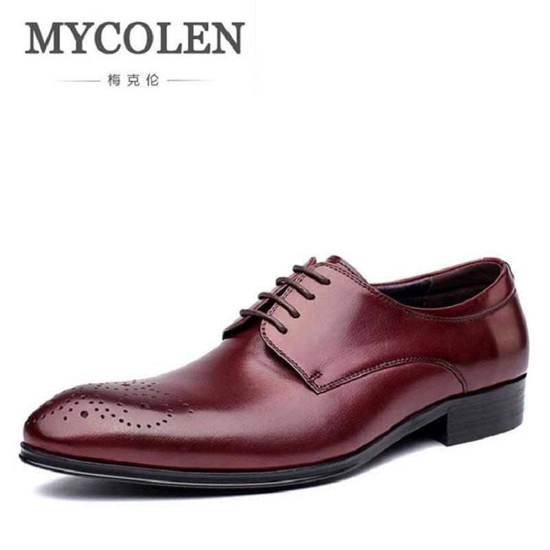 MYCOLEN Mens Leather Shoes Bullock Carved Men'S Dress Shoes British Style Lace Up Pointed Toe Low Top Flats Chaussure Homme mycolen new fashion high top casual shoes for men leather lace up red white mixed color mens casual shoes chaussure homme cuir