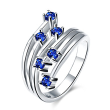 2014 Trdendy 925 sterling silver set six Shining Blue diamonds ring Wedding wholesales