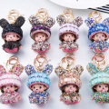 Monchichi Definitely Cute Bunny Baby Doll Keychain Pendant For Woman's Accessory Handbag Chamrs Purse Novelty Ornament