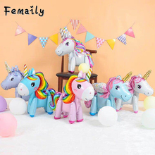 1pcs 3D DIY cute rainbow unicorn foil balloons Pink Blue Purple Unicorn Stand Balloons Wedding Birthday party Decor Kids toys