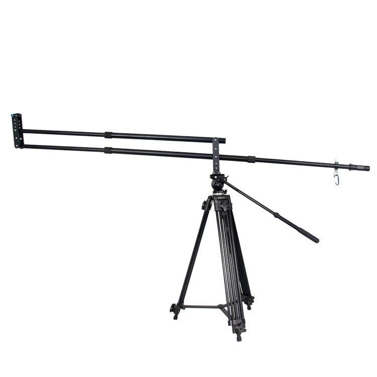 Grue de potence de caméra vidéo DSLR en alliage d'aluminium noir de 2 m pour caméscopes d'appareil-photo