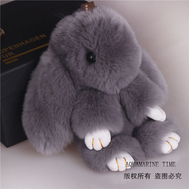 Rex small rabbit pendant car key holder chain bag ornaments chains fur pom pompom ball accessories keychain keyring keychains