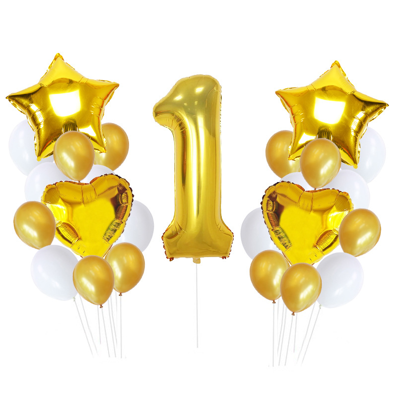 1st Happy Birthday Balloons 40 inch Foil Number Balloons Banner First Baby Boy Girl Party Decorations My 1 One Year Supplies in Ballons Accessories from Home Garden