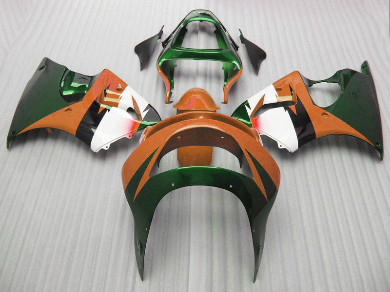 ABS plastic motorcycle body fairing kits for Kawasaki ZX6R 1998 1999 orange green full Fairings bodywork Ninja 636 ZX 6R 98 99