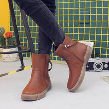 New Plus Size Mid Calf Boots Shoes Woman Solid Brown Leather