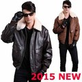 2015  AVIREXFLY Genuine Men's Leather jacket Air Force flight suit  camel   bomber jacket  plus size Streetwear fur Collar