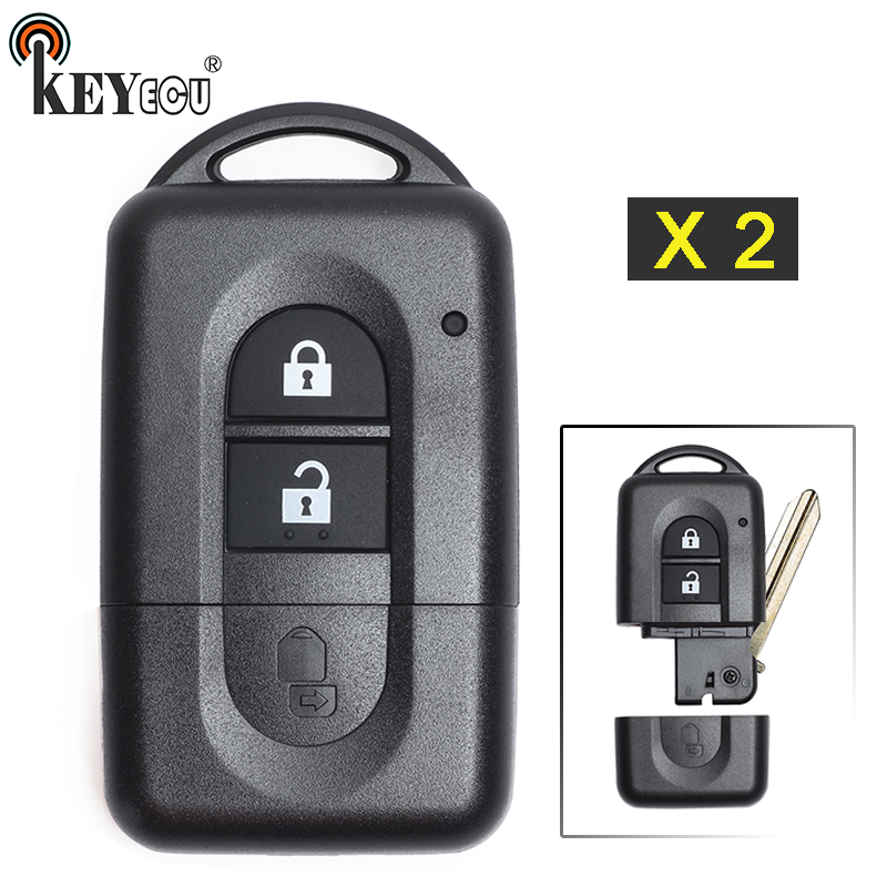KEYECU 2x for Nissan Micra Xtrail Qashqai Note Tiida Pathfinder Replacement Flip 2 Button Remote Car Key Shell Case Fob|Car Key| |  - title=