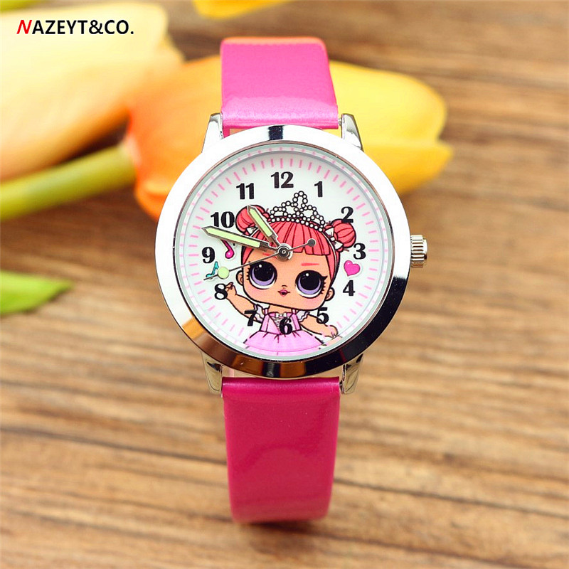 free shipping cute cartoon girls dial children wristwatch kids student pretty lass style quartz leather birthday gift watch