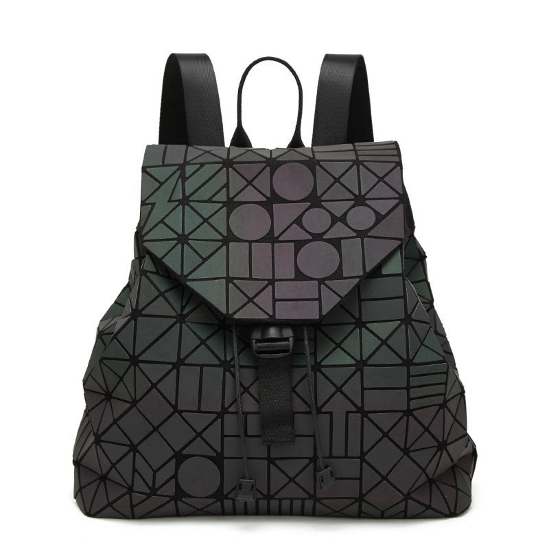 New Japan Style Luminous Women Backpacks Female Lightning Girls' Daily Backpack Geometry Folding School Bags Purse 2019