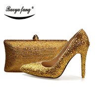 BaoYaFang champagne crystal wedding shoes with matching bags woman 10cm Thin heel Ladies Pumps and purse set Pointed Toe