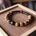 Wholesale Ethnic Natural Coconut shell With Rudraksha Tiger eye Beads Bracelet Unisex Healthy Jewelry Tibetan Stretch Bracelet