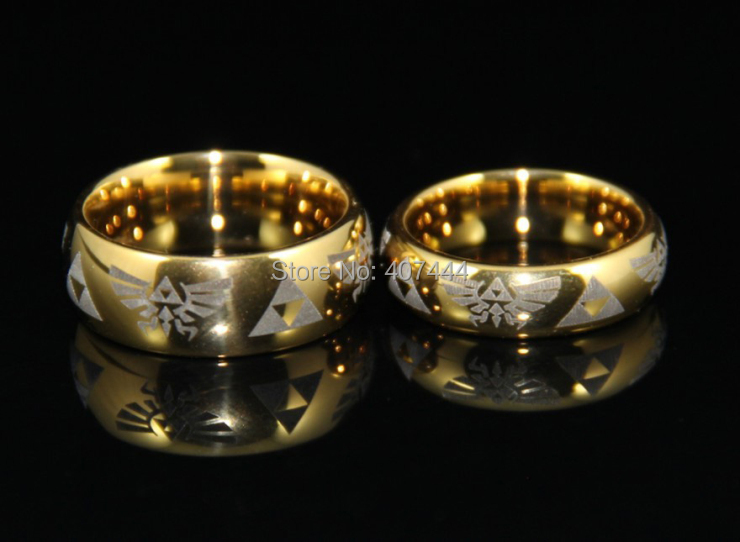 free shipping usa uk canada russia brazil hot sales 6mm 8mm golden dome mens comfort fit - Zelda Wedding Ring