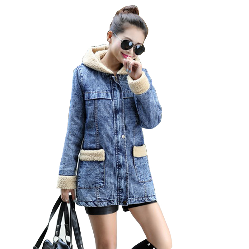 2017 New Winter denim cotton  Jacket Women high quality Hooded Overcoat Long section Thick Warm Parkas denim Outwear FemaleLU398 2017 new winter warm hooded long women s coats thick cotton jacket women embroidery letter vintage overcoat parkas abrigos mujer