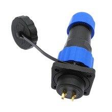 Conector SP20 a prueba de agua, enchufe y enchufe con Brida de 4 orificios, IP68, 1 pin, 2 pines, 3/4/5/6/7/9/10/12/14Pin
