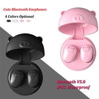 TWS Pink Pig Wireless Cute Earphones Bluetooth 5.0 Waterproof Earbuds Headset Stereo In ear Headphones with Mic for Girl Kids