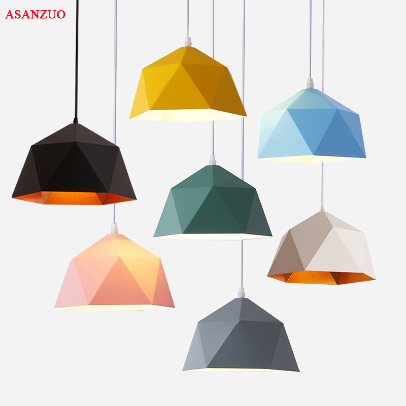 Macaron Multicolor Pendant Lights Industrial Loft Decor Iron Hanging Lamp For Kitchen Living Room Suspension Luminaire E27 Led