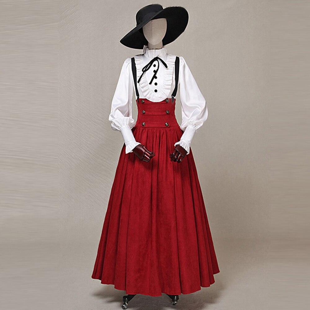レトロファッション春秋の女性ビトリアスエードビッグスイングスカート女性ガードルパンクスリムハイウエストパーティースカート  グループ上の レディース衣服 からの スカート の中 1