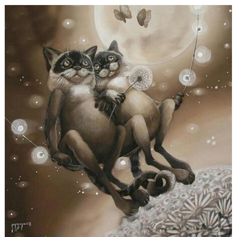 3d Diy Diamond painting animal two cat round diamond mosaic Cross Stitch font b Crafts b