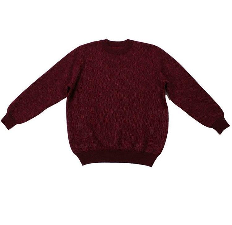 100%goat Cashmere Add Thick Knit Men Fashion Dark Plaid Pullover Sweater Dark Blue 2color S-2XL