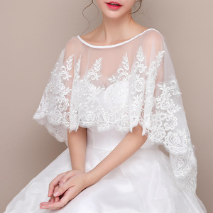 Image 3 - JaneVini New White Bridal Lace Bolero Appliques Sequined Capes Low Front Long Back Summer Shrug Women Shawls Wedding Accessories