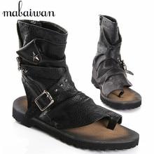 2017 Hombres del Estilo Punky de Moda de Verano Sandalias de Gladiador Motorcycle Boots Negro Ocasional Zapatos Planos Botines de Tobillo Sandalias