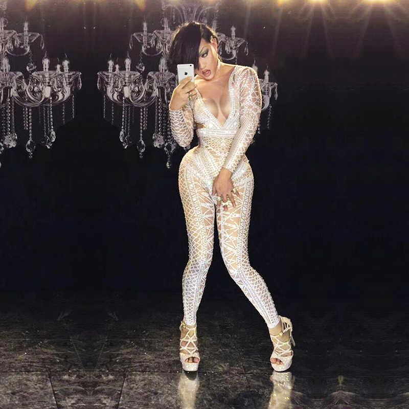 Female dress bar nightclub concert singer dancer white sexy hollow deepV  fake leaking diamond elastic conjoined 87820f752191