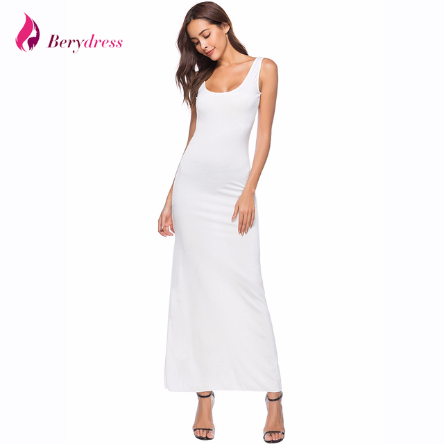 7c65b465dd Sexy Maxi Dress 2018 Summer Style Square Neck Ankle Length Straight White  Vestidos Sleeveless Plus Size Burgundy Womens Dresses