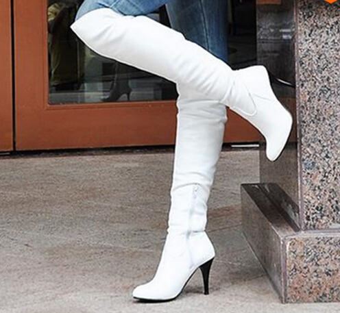 цена на Women Boots Thin High Heels Boots Women Sexy Over Knee Ladies Boots Spring Autumn Shoes Black White Shoes Leicpsilverc