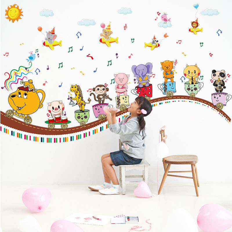 Animal train wall stickers cartoon children 's room kindergarten music classroom wall decoration stickers